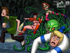Fred and Shaggy fuck variously slutty Velma - Popular Cartoon Porn - Picture 1