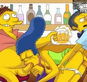 Marge takes on two big cocks one in mouth and one in asshole