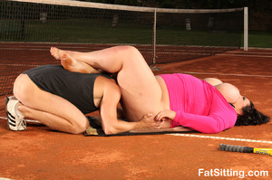 Brunette fatty in pink dress smothering  - XXX Dessert - Picture 12