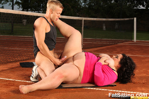 Brunette fatty in pink dress smothering  - XXX Dessert - Picture 16