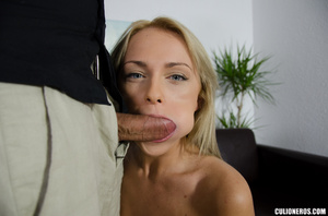 Blonde milf in high heels swallows cock  - Picture 9