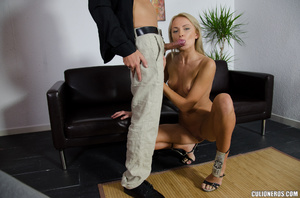 Blonde milf in high heels swallows cock  - Picture 10