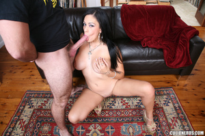 Sexy brunette gives head and then drinks - XXX Dessert - Picture 9