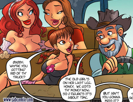 Three lustful cartoon bitches flirting with an old - Picture 2