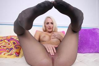 blonde bitch grey pantyhose
