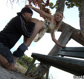 Blonde chick gets her cunt and pooper licked carefully outdoors