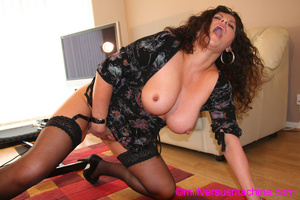 Horny milf in black stockings gets her c - Picture 13