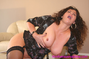 Horny milf in black stockings gets her c - Picture 14