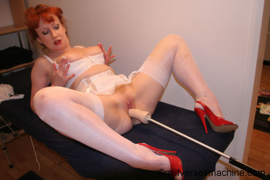Red bitch in red shoes and white lingerie e - XXX Dessert - Picture 12