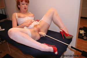 Red bitch in red shoes and white lingeri - Picture 13