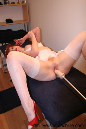 Red bitch in red shoes and white lingeri - Picture 16