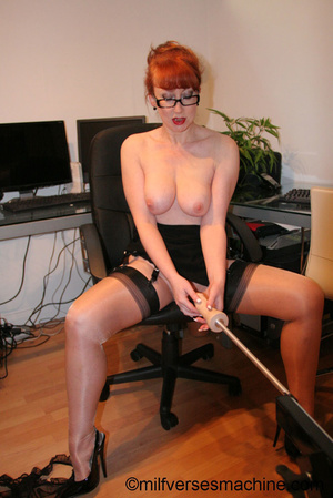 Red secretary in glasses and sexy linger - XXX Dessert - Picture 2