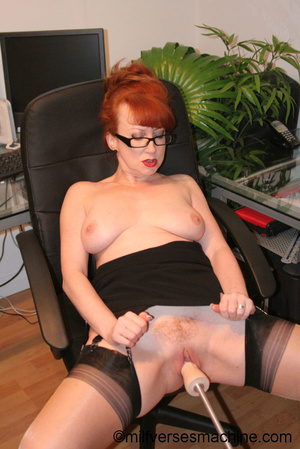 Red secretary in glasses and sexy linger - XXX Dessert - Picture 4