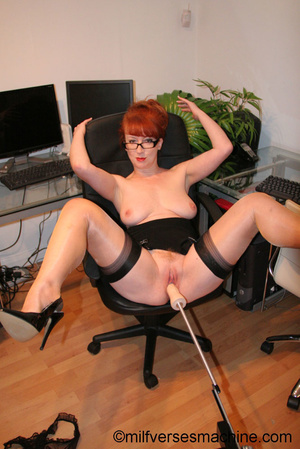Red secretary in glasses and sexy linger - Picture 8