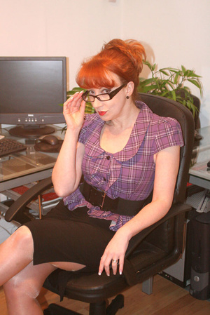 Red secretary in glasses and sexy linger - Picture 11