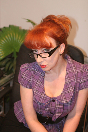 Red secretary in glasses and sexy linger - Picture 12