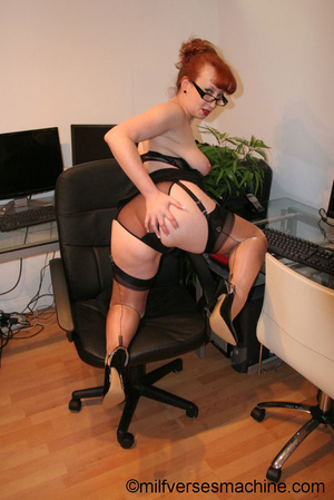 Red secretary in glasses and sexy linger - Picture 13