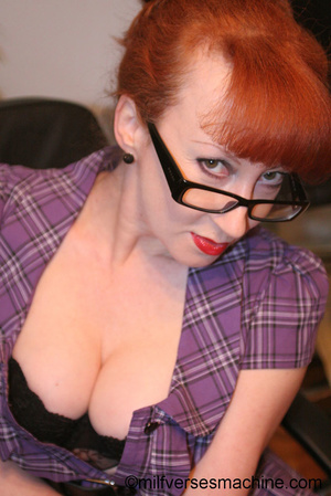 Red secretary in glasses and sexy linger - XXX Dessert - Picture 15
