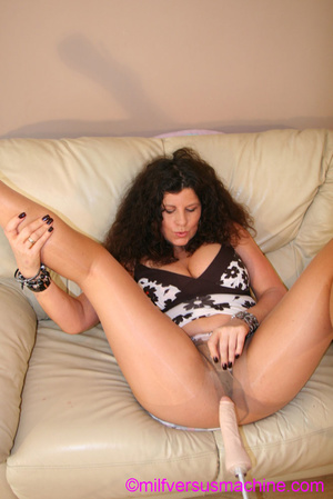 Curly brunette mom in pantyhose stretchi - Picture 16