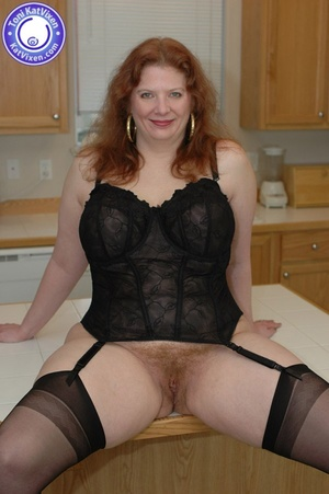 Horny redhead lays on the kitchen table  - XXX Dessert - Picture 4