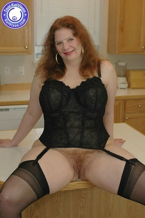 Busty redhead in some sexy black lingeri - XXX Dessert - Picture 2