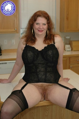 Busty redhead in some sexy black lingeri - XXX Dessert - Picture 3
