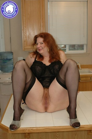 Busty redhead in some sexy black lingeri - XXX Dessert - Picture 8