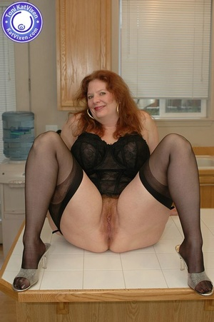 Busty redhead in some sexy black lingeri - XXX Dessert - Picture 9