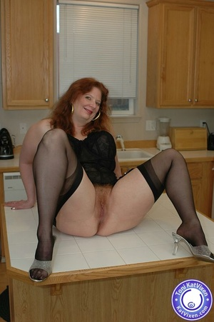 Busty redhead in some sexy black lingeri - XXX Dessert - Picture 10