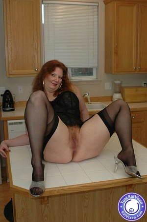 Busty redhead in some sexy black lingeri - XXX Dessert - Picture 11