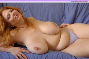 Playing with my big breasts on the bed - XXX Dessert - Picture 6