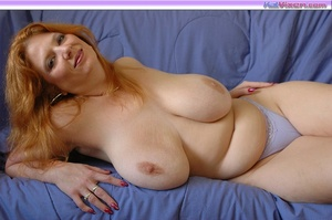 Playing with my big breasts on the bed - XXX Dessert - Picture 7