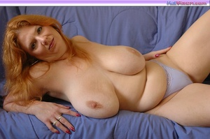 Playing with my big breasts on the bed - XXX Dessert - Picture 8