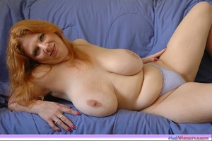 Playing with my big breasts on the bed - XXX Dessert - Picture 9