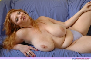 Playing with my big breasts on the bed - XXX Dessert - Picture 11