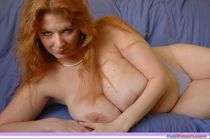 Playing with my big breasts on the bed - XXX Dessert - Picture 16
