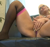 Cool movie with nasty blonde milf in black stockings screwing her cooch