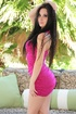 Sexy brunette latina in pink dress taking it off and drilling her hungry