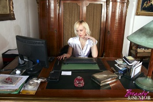 Slutty blonde secretary seduces her old  - XXX Dessert - Picture 1