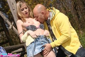 Slutty teen girl in jeans skirt spreads  - XXX Dessert - Picture 7