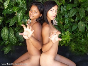 Two chocolate exotic gals with big tits having much fun taking part in amateur photo session - XXXonXXX - Pic 6