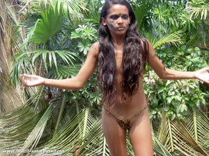 Swarthy gals in G strings and war paints posing on cam in the wild jungle - XXXonXXX - Pic 6