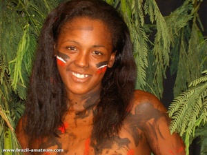 Very hot amateur shots with cool small-titted tropical beauties posing in war paint topless - XXXonXXX - Pic 8