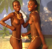 Hot black young chicks in G string dancing hot exotic dances