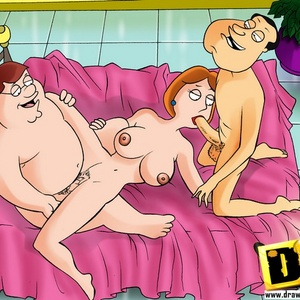 Cartoon guy Peter Griffin shares his sexy redhead wife with his best f..