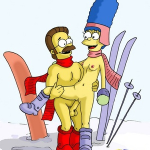Horny toon Marge Simpson rides Homer's hard dick on the beach.