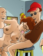 Nasty cartoon Peggy Hill sucks her husband's friends cocks while he is
