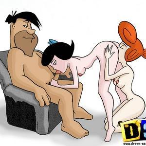 Horny toon Fred Flintstone fuck his friend's Barney sexy wife.