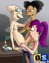 Nasty toon babes Leela and Amy serving professor's hard prick.