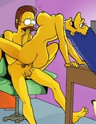 Lusty big boobed toon housewife Marge Simpson rides her shy neighbor Ned